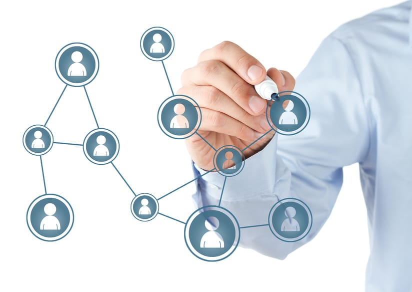 Handzeichnung Personennetzwerk - Thema virtuelle Führung