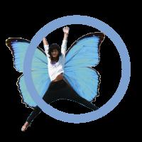 Blauer Schmetterling blauer Kreis-19