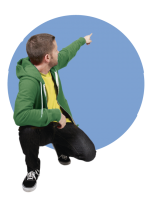 zeigender Mann gruen blauer Bubble-23